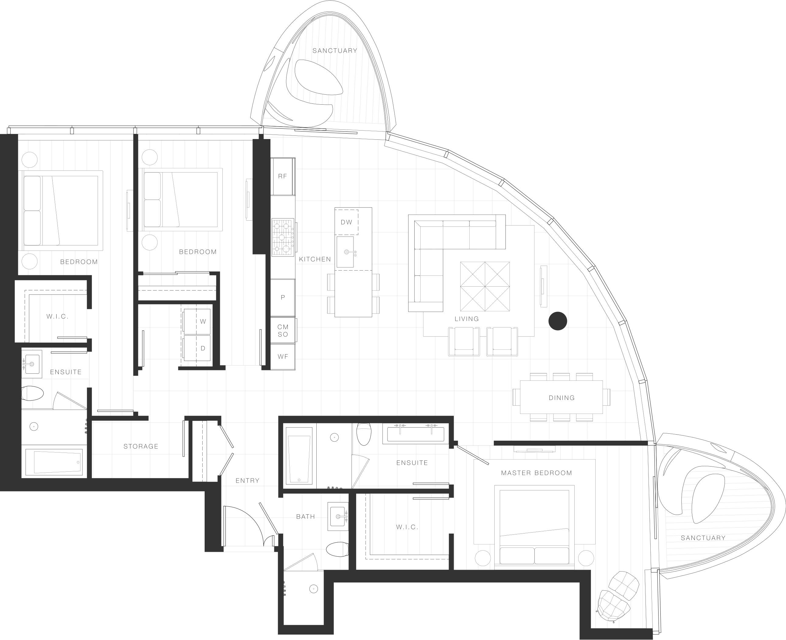 Penthouse Floorplan - Unit 1701